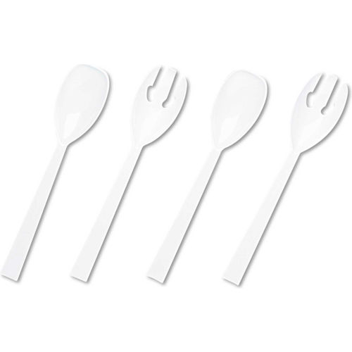 Table Set Plastic Serving Forks and Spoons, White, 2 Each/Pack, 12 Packs/Box by