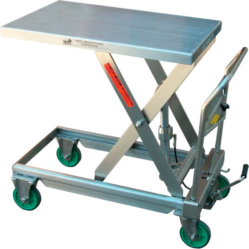 Vestil Stainless Steel Mobile Scissor Lift Table CART-550-SS 550 Lb. Capacity by