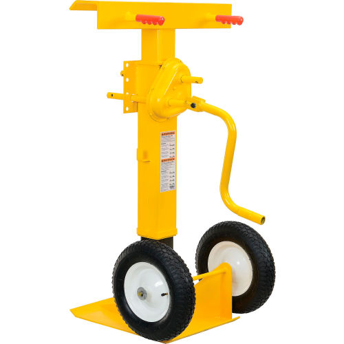 Hand Crank Trailer Jack Stand 100,000 Lb. Static Cap. Pneumatic Wheels by