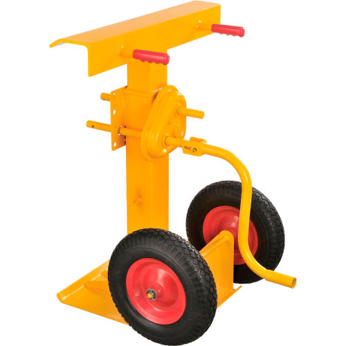 Hand Crank Trailer Jack Stand 100,000 Lb. Static Cap. Semi-Pneumatic Wheels by
