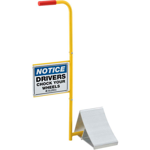 Global Industrial Aluminum Wheel Chock with Safety Sign & Handle by