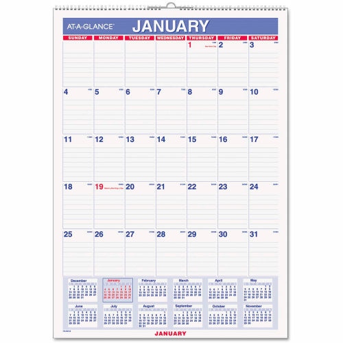 AT-A-GLANCE Erasable Wall Calendar, 12 x 17, White, 2019 by