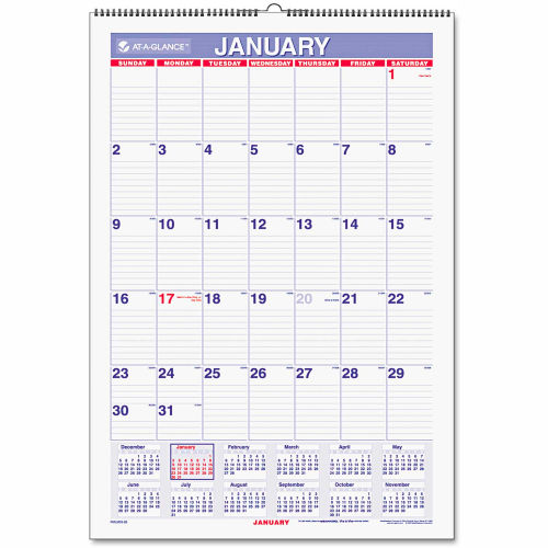 AT-A-GLANCE Erasable Wall Calendar, 15 1/2 x 22 3/4, White, 2019 by