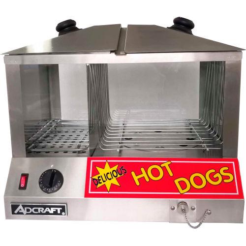 Adcraft HDS-1200W Hot Dog Steamer & Warmer, Holds 100 Hot Dogs, 36-48 Buns, 120V by