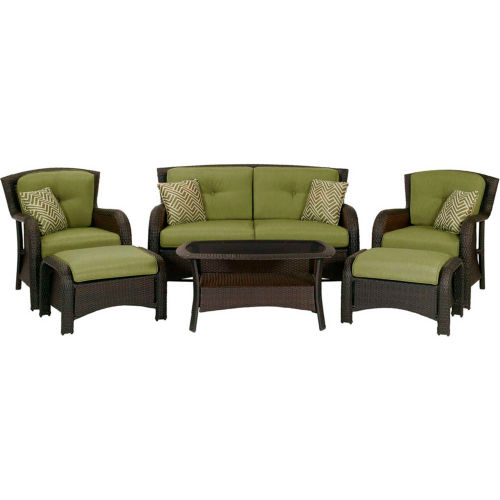 Hanover Strathmere 6-Piece Outdoor Wicker Patio Set by