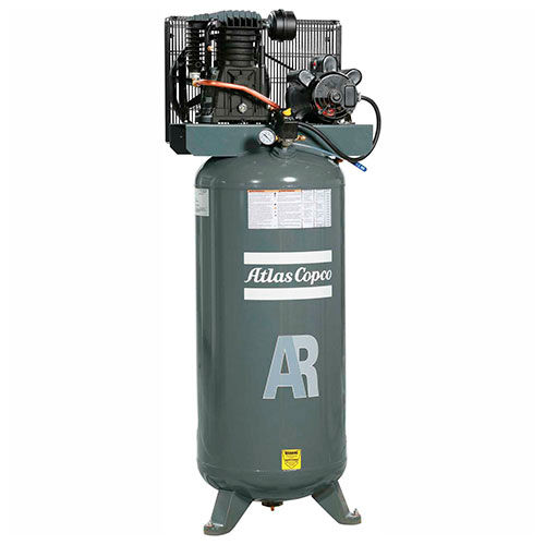 Atlas Copco AR-P38, 3.5HP, Single-Stage Comp, 60 Gal, Vertical, 145 PSI, 12.4 CFM, 1-Phase 208-230V by
