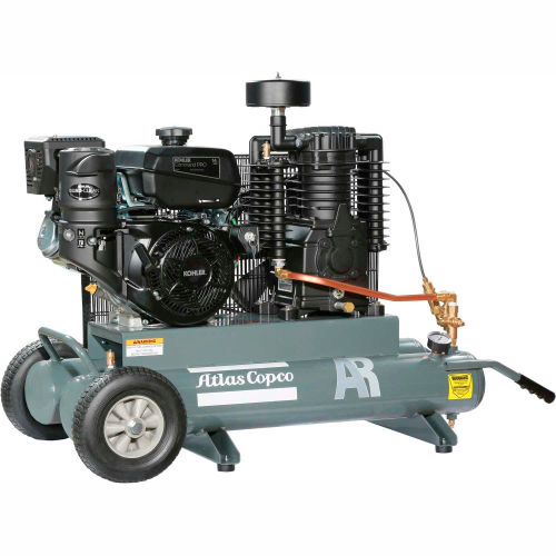 Atlas Copco AR-12.75, 13 HP, Wheelbarrow Gas Comp, 10 Gallon, 175 PSI, 25.3 CFM,Kohler, Electric by