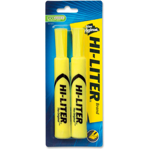Avery Hi-Liter Desk Style Highlighter, Chisel Tip, Fluorescent Yellow Ink, 2/Pack by