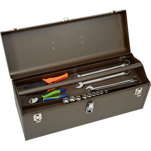 Heavy Duty 23 Inch Stainless Steel Tool Box Chest Storage Case Removable Tray
