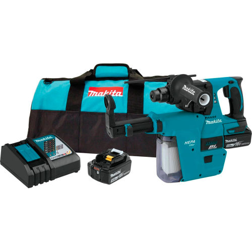 "Makita XRH011TX 18V Li-Ion Brushless Cordless 1"" Rotary Hammer Kit w/ HEPA Vacuum Attachment 5.0Ah by"