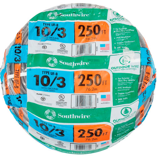 Southwire 13059155 UF-B Underground Feeder Cable, 10/3 AWG, 250 ft by