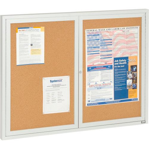"""Aarco 2 Door Framed Enclosed Bulletin Board 48""""W x 36""""H by"""