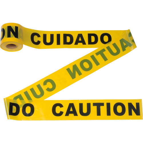 """300' x 3"""" Yellow """"CAUTION CUIDADO"""" Tape, 1 Roll by"""