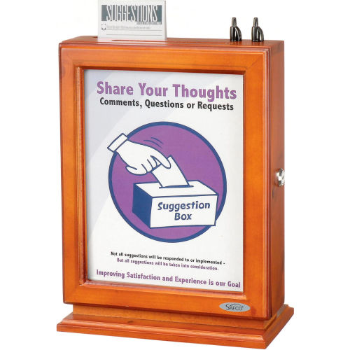 Customizable Wood Suggestion Box Cherry by