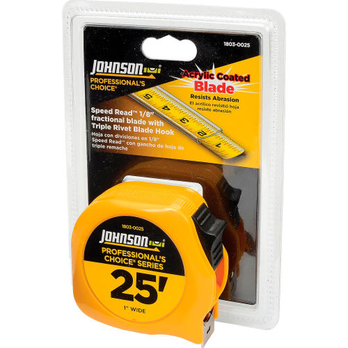 Johnson Level 1803-0025 25' Professionals Choice Power Tape by