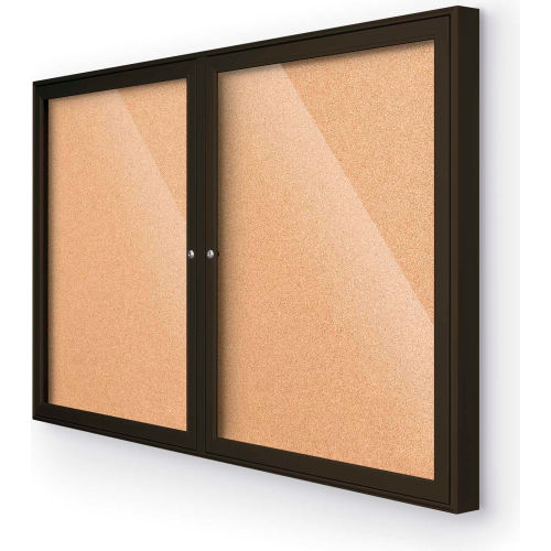 Balt Indoor Enclosed Bulletin Board 2 Door Cork Coffee Aluminum Frame 46 W X 34 H B538229 Globalindustrial Com