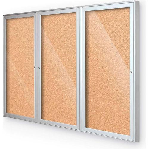"Balt Indoor Enclosed Bulletin Board 3 Door Cork Silver Aluminum Frame 72""W x 36""H by"