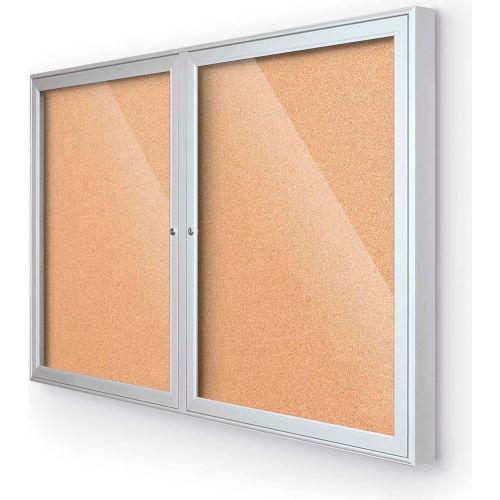 "Balt Indoor Enclosed Bulletin Board 2 Door Cork Silver Aluminum Frame 60""W x 36""H by"