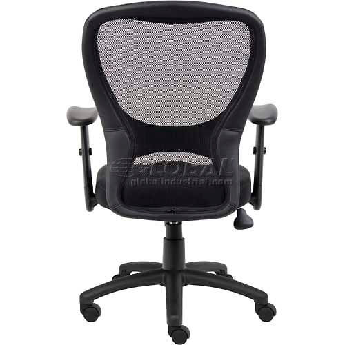 Interion Mesh Task Chair With Arms Fabric High Back Black B251196 Globalindustrial Com