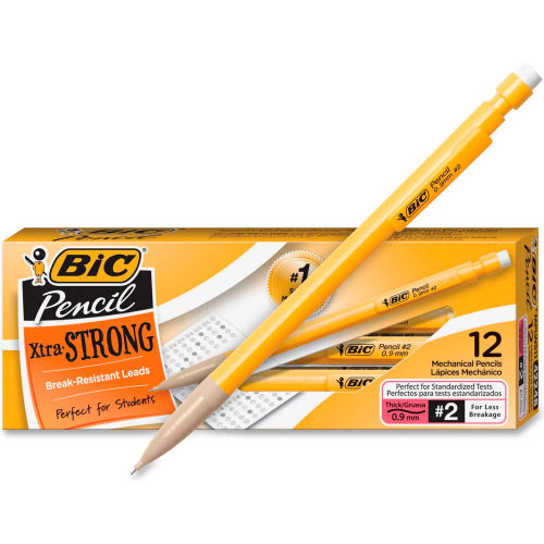 BIC Student's Choice Mechanical Pencil, #2 Pencil, 0.9 mm Lead Size, Black Lead, Dozen by