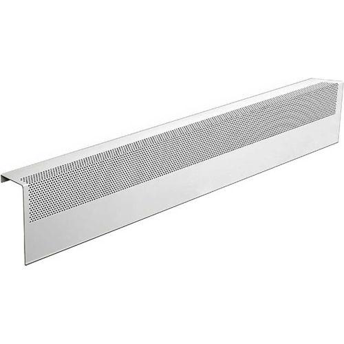 Basic Series Steel Easy Slip-On Baseboard Heater Cover Left Side End Cap in White