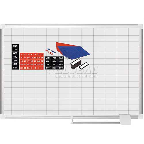 """Magnetic Planning Board Kit 1x2 Grid 36""""W x 24""""H Porcelain Surface by"""