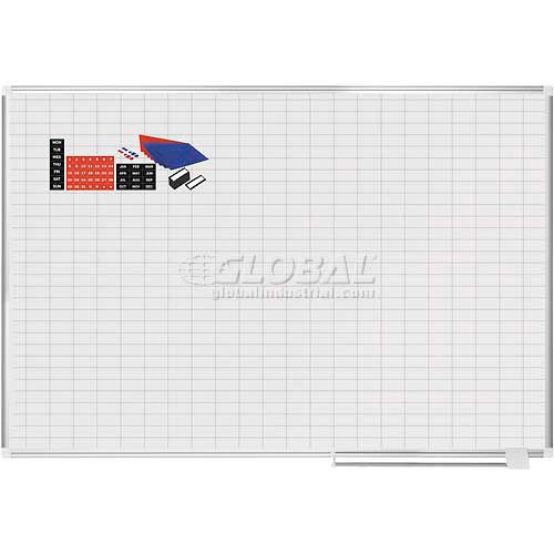 """Magnetic Planning Board Kit 1x2 Grid 72""""W x 48""""H Porcelain Surface by"""