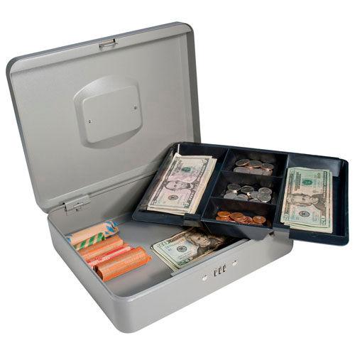 "Barska Cash Box With Combination Lock CB11788 12"" x 9-7/16"" x 3-9/16"" Gray by"