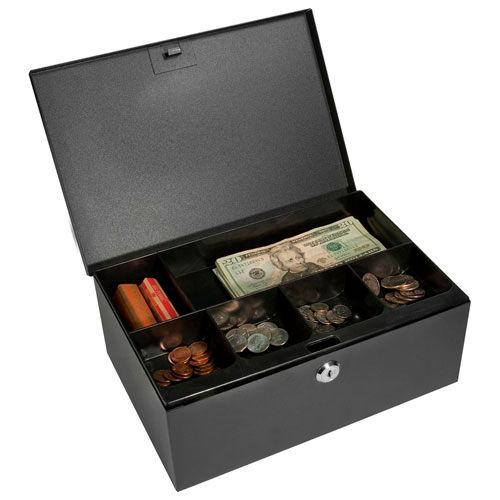 "Barska Cash Box With Tray With Keyed Lock CB11792 11-1/2"" x 7-3/4"" x 4-3/8"" Dark Gray by"