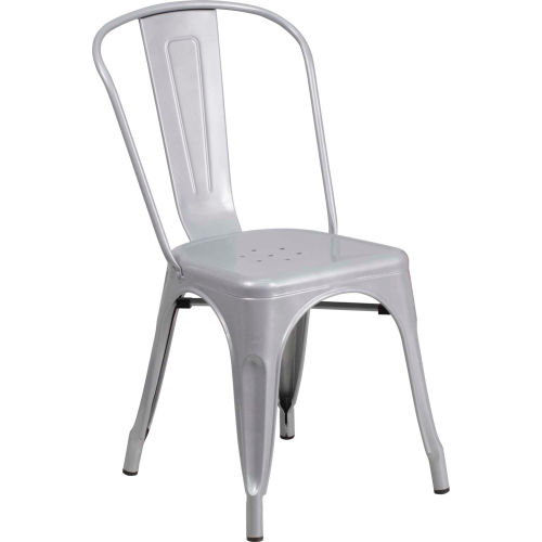 Metal Indoor-Outdoor Stackable Chair Silver by
