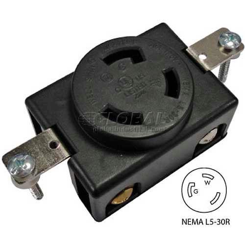 plugs & receptacles | locking devices | conntek 80611, 30a, 3-prong locking  single flush receptacle w/ nema l5-30r female end, 2 pole-3 wire | m1341971