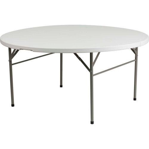 Tables | Folding Tables | Flash Furniture 5u0027 Round Fold In Half Plastic  Table   Granite White | B2256325   GlobalIndustrial.com