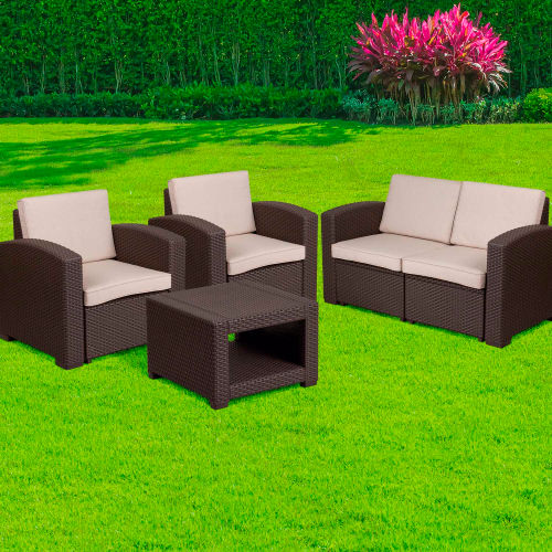 4-Piece Outdoor Patio Set Faux Rattan Chocolate Brown with Beige Cushions by