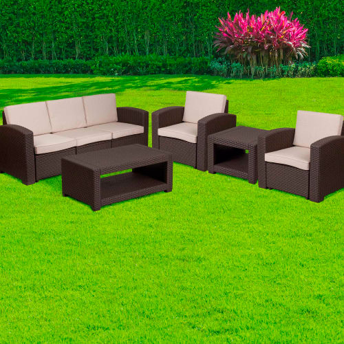 Flash Furniture 5-Piece Outdoor Patio Set Faux Rattan Chocolate Brown with Beige Cushions by