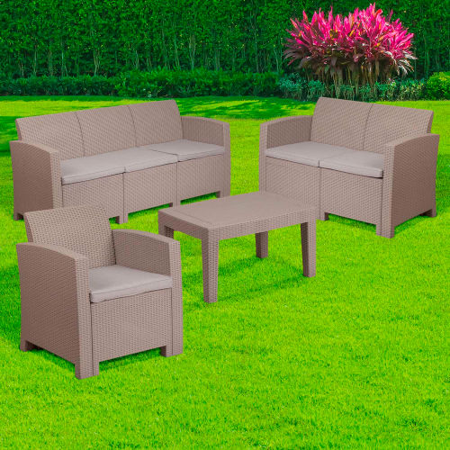 Flash Furniture 4-Piece Outdoor Patio Sofa Set Faux Rattan Light Gray with Light Gray Cushions by