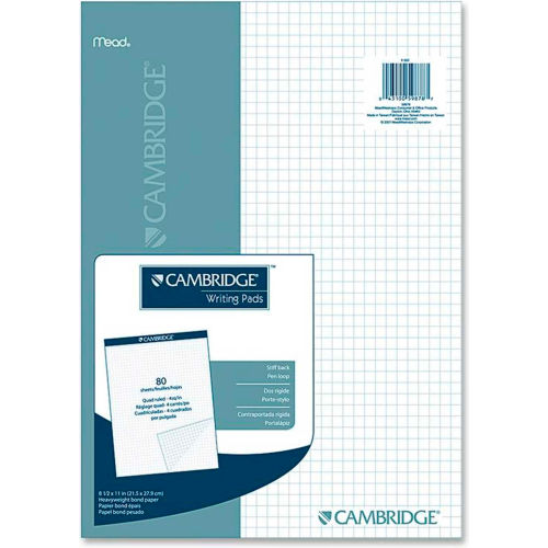 "Mead Cambridge Quad Writing Pad, 8-1/2"" x 11"", Quad Ruled, White, 80 Sheets/Pad by"