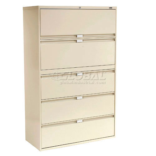 "Global 9300 Series 36""W 5 Drawer Binder Lateral File Putty by"