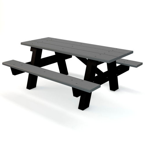 Global Industrial 6 Ft Recycled Plastic A Frame Rectangular Picnic Table Gray B264228 Globalindustrial Com