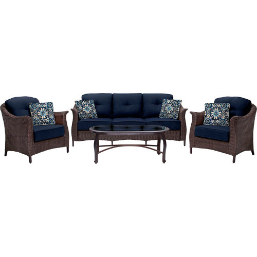Hanover Gramercy 4-Piece Woven Patio Set, Navy Blue by