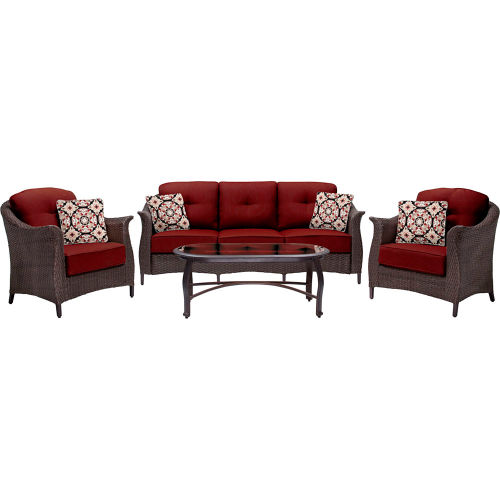 Hanover Gramercy 4-Piece Woven Patio Set, Crimson Red by
