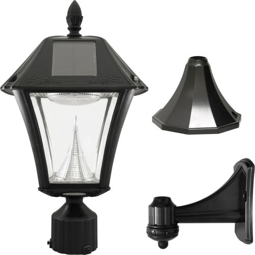 Click here to buy Gama Sonic 105033 Baytown II Solar LED Outdoor Light Post/Wall Mount Black Resin.