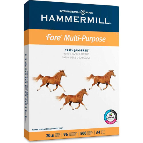 "A4 Copy Paper Hammermill Fore 103036 8-1/4"" x 11-11/16"" 20 lb White 500 Sheets/Ream by"