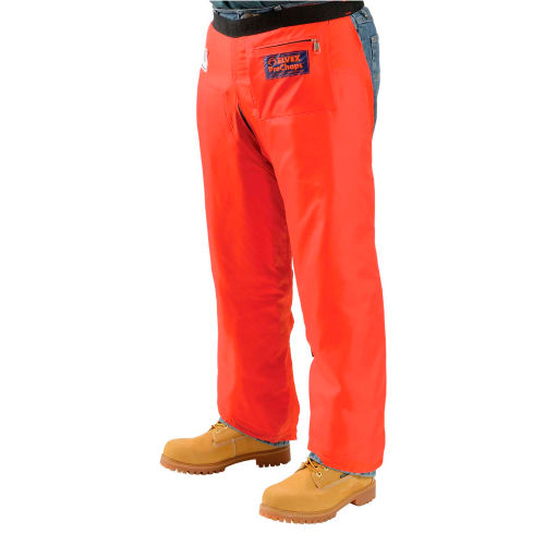 "Click here to buy Elvex ProChaps Chainsaw Chaps JE-9036, 36""L, Apron Style, Orange."