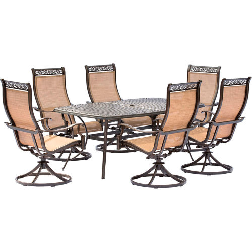 Hanover Manor 7-Piece Patio Dining Set with 6 Sling Swivel Rockers and a Cast-Top Dining Table by