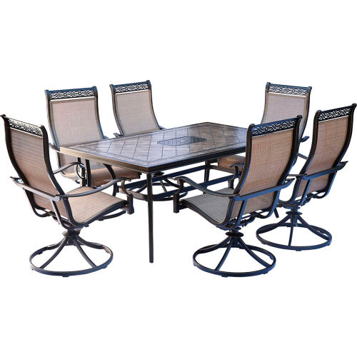 Hanover Monaco 7-Piece Patio Dining Set with 6 Sling Swivel Rockers and a Tile-Top Dining Table by