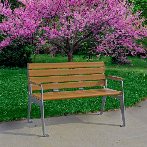 Frog Furnishings Recycled Plastic 8 ft. Comfort Park Avenue Bench, Cedar Bench/Black Frame by