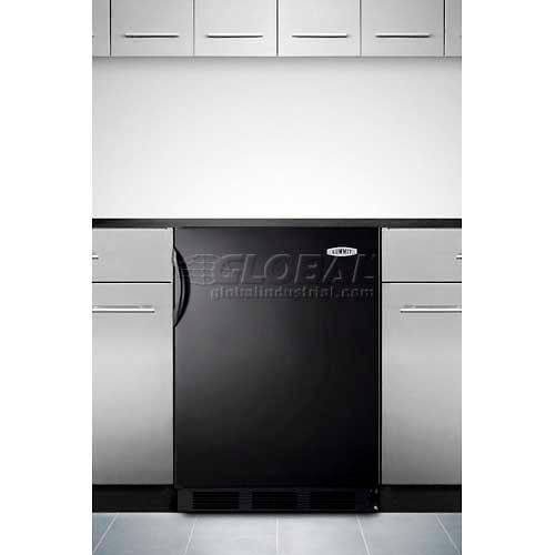 Summit CT66BBI Built-In Undercounter Refrigerator-Freezer In Black, Dual Evaporator, Cycle Defrost by