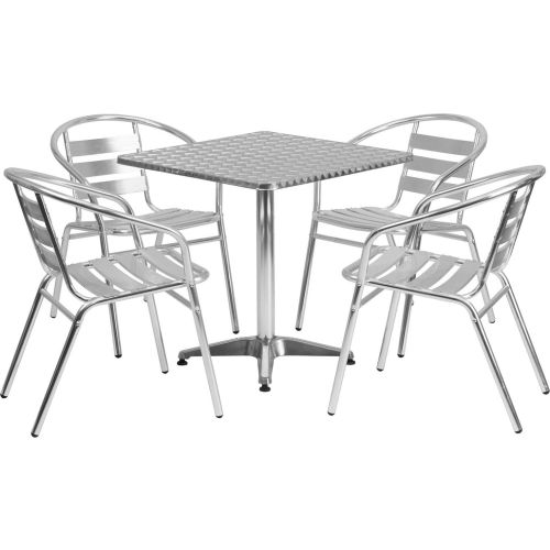 Square Aluminum Outdoor Dining Table Set with 4 Slat-Back Chairs by