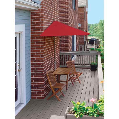 TERRACE MATES VILLA Economy 7.Outdoor 5 Ft. Red Sunbrella Outdoor 5 Pc. Set by