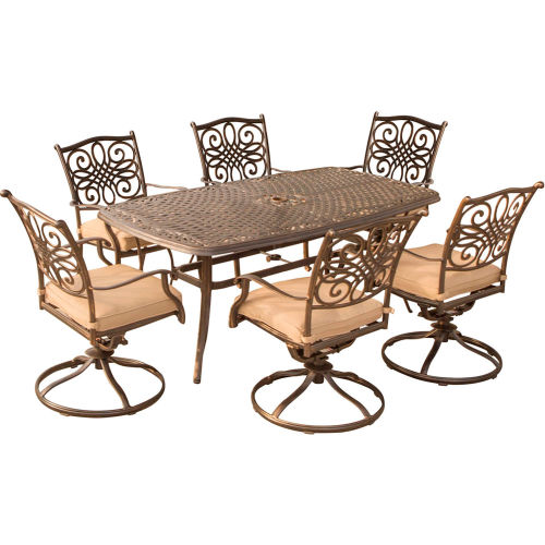 Hanover Traditions 7-Piece Patio Dining Set w/ Cast-Top Dining Table & 6 Cushioned Swivel Rockers by